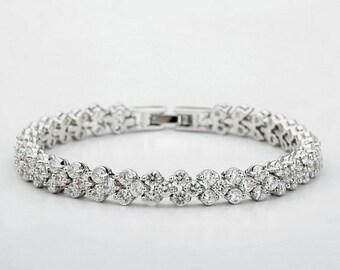 Wedding bracelet, Bridal bracelet, Crystal Wedding bracelet, Wedding jewelry, Crystal bracelet, Cubic Zirconia bracelet, Vintage, Ref HELEN