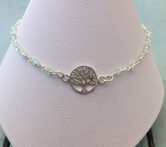 Sterling Silver Tree of Life and Beryl Bracelet