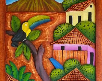 toucan/volcan | wood panel, hand-carved and hand-painted