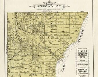1914 Map of Sturgeon Bay Township Door County Wisconsin