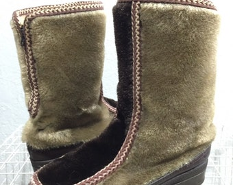 vintage 70's snowland faux far back zip boots size 7 made in usa winver