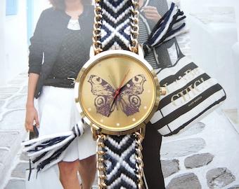 Boho horloge. happy butterfly watch,butterfly watch,butterfly,watch with butterfly,black and white butterfly watch,black and white watch