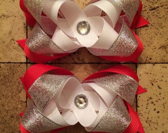 Red and White Hair Bow