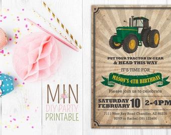 Tractor Invitation,,Tractor Invitation, Tractor Birthday Invitation, Tractor Party, Farm Birthday, Tractor invite,construction invite