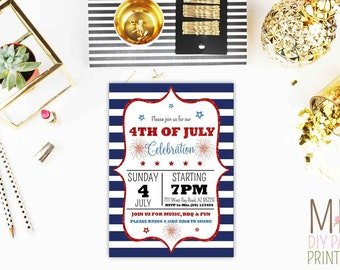 Glitter 4th of July Invite,4th of july invitation,4th july invitation,4th of july invite,4th of july bbq invitation,bbq 4th july invitation