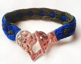 Silk Ribbon Bracelet with clasp silver heart - BSF5