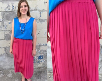1980s hot pink pleated skirt / vintage midi skirt / elastic waist / medium