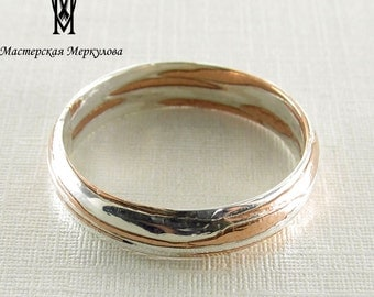 Mokume Gane Ring, Sterling Silver, Wedding Rings, Mokume Gane