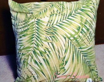 Palm Leaf Print Beach Pillow Covers Ocean Seaside Cabana Resort Patio Decor