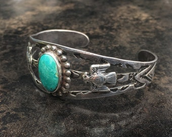 Fred Harvey style banded cuff bracelet with chrysocolla stone, stamped and applied decoration