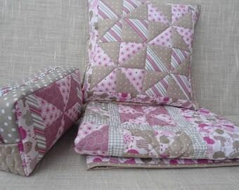 Set: Baby Quilt / blanket + pillow + diaper bag
