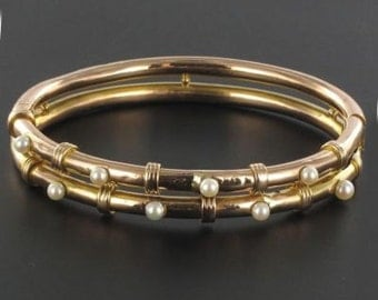 Former Bangle in pink gold bracelet beads 19th century