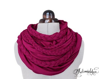 Zopfloop pink / / Zopfschal / / braided scarf