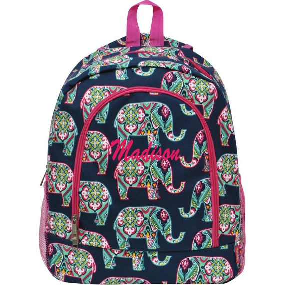 personalized multi elephant navy large backpack book by