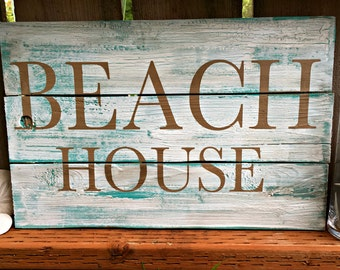 Beach House Sign - Beach Sign - Beach Cottage Sign - Shabby Chic Beach Decor - Beach Decor - Nautical Decor - Beach Welcome Sign