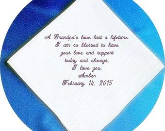 Grandfather of the Bride/ Groom Wedding Handkerchief, Personalized  Elegant Heirloom Keepsake Handkerchief