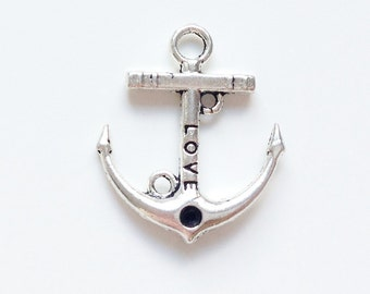 Silver, gold or bronze plated anchor charm 22.5x19mm