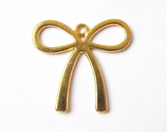Large golden bowknot charm 32x30mm