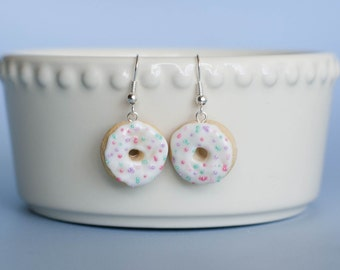 White Frosting and Color Sprinkles Donuts - Polymer Clay Handmade Jewelry - Miniature Food - Donuts Earrings