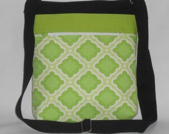Bright Green and Black Crossbody Bag