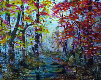 Autumn forest.. - ORIGINAL acrylic painting forest art on hardboard  | Size: 17'' x 23'' (45cm x 60cm)