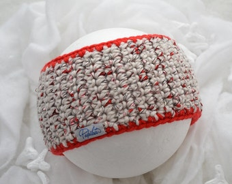 Headband red and light grey Papilau