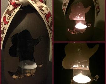 Cowboy Hat & Boot Mason Jar Tea Light Candle Holder