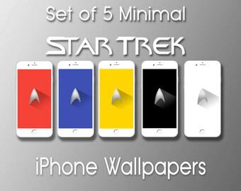 Set of 5 Flat/Minimal, Star Trek iPhone 4, 4s, 5, 5c, 5s, 6, 6Plus, 6+ Wallpaper, iPhone background, Lockscreen Wallpaper, Instant Download
