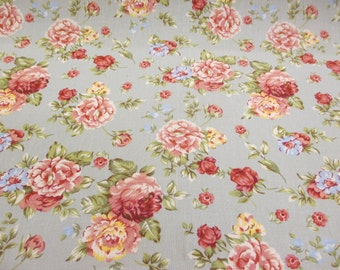 Green Vintage Flowers Printed 100% Cotton Canvas Fabric.