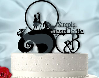 Jack and Sally Simply Meant to Be with Initials Wedding Cake Topper