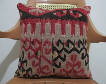 Vintage Capodocia old Kilim 16 x 16 Turkish  kilim cushion case home Decorative throw pillow
