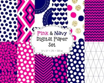 "Pink and Navy Pattern Digital Paper Set - Modern Digital Paper - Scrapbooking Paper - NAVY Digital Paper – 12 Patterns - 12"" x 12"" - 300DPI"