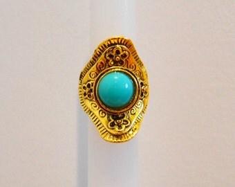 Handmade Bohemian Ring: BLUE STONE