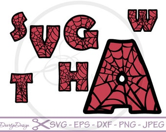 Font Letters SVG, Spiderman Alphabet set svg files for Silhouette, svg files for cricut, svg font files, Vector files Spiderman