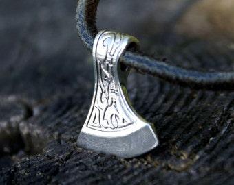 Sterling silver 925 necklace Axe Silver Amulet Axe Silver 925 Talisman Axe Male guardian Pendant for men