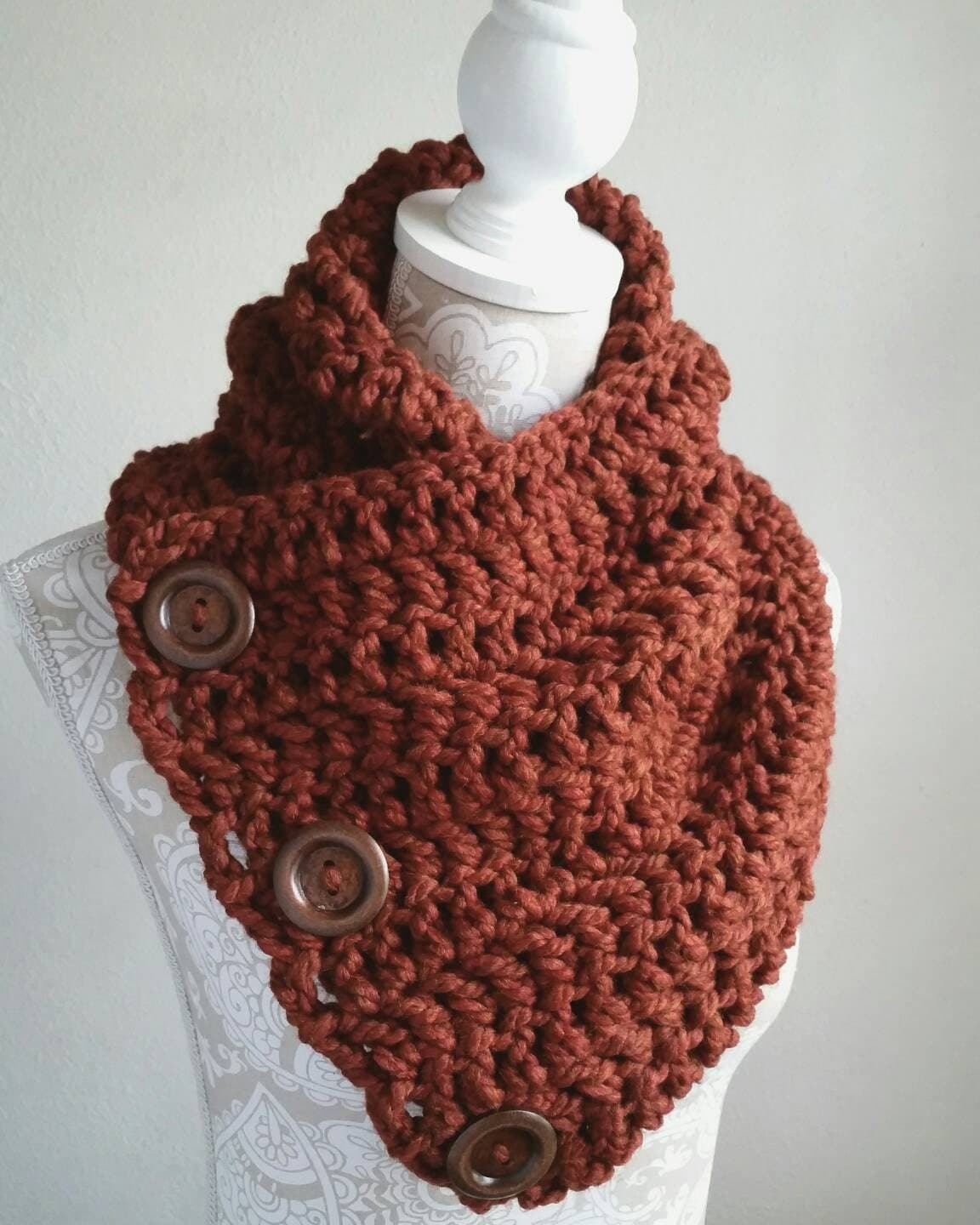 Crochet Scarf Pattern With Button : Crochet pattern 3 button scarf crochet scarf by GingerKnotShop