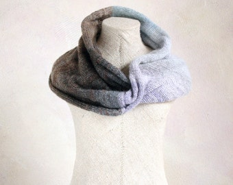 Infinity wrap | knit shawl | Latvia knitwear | Inese Liepina | soft warm scarf | knit mohair scarf | lavender taupe | earth tones scarf