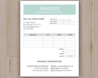 Photography Business Invoice Template, Photography Forms, Photoshop PSD file *INSTANT DOWNLOAD*