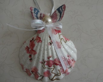 Seashell Angel Christmas Ornament, Seashell Angel, Seashell Angel Coastal Decor, Beach Decor, Nautical Decor