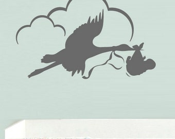 rvz538 Wall Decal Vinyl Sticker Bedroom Stork with Baby Clouds Nursery Kids Baby Z538