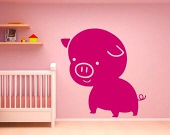 pig wall decal pig decor for home pig decor pig wall art pig wall sticker (Z652)