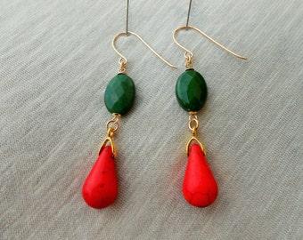 Howlite dangle earrings, Howlite earrings, Howlite drop earrings