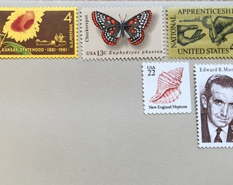 UNUSED Vintage Postage Stamp Set- Sunflower, Seashell, New England, Butterfly, Seventy-two cents