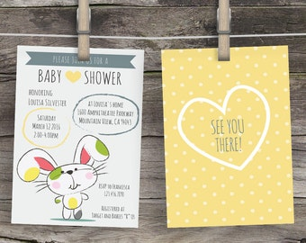 Cute Bunny Baby Shower Invitation, gender neutral invite, Custom Baby Shower Invitations, BabyShower Invitation, Boy or Girl invitations
