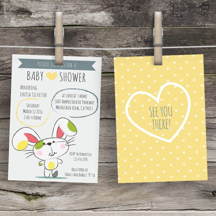 cute bunny baby shower invitation gender neutral invite