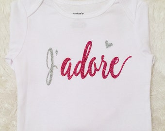 J'adore,Valentine's Day,Sparkly,Be Mine,Baby Girl Clothing,Girls Clothing Glitter,I Love You,Photoshoot,My First Valentine's Day