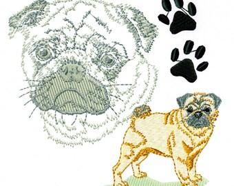PUG PORTRAIT - Machine Embroidery Design