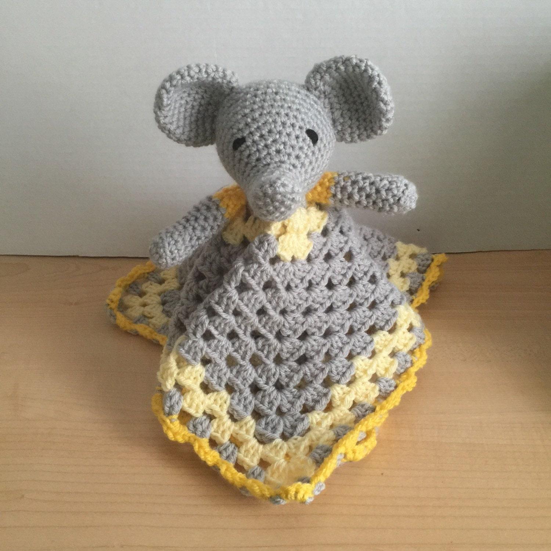 Crochet Snuggle Elephant Lovey Security Travel Piggy Wubby - photo#19
