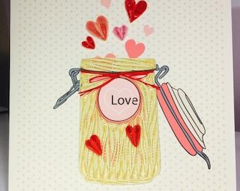 Valentine's Day Card, Love Card, Valentine's Day, Love Quilling Card, Hearts Quilling Card, Hearts Card, Birthday Card, Love Birthday Card