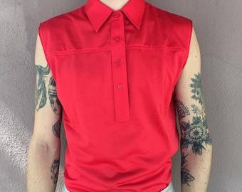 Vintage red sleeveless shirt
